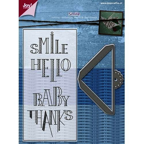 Joycrafts Stanzform u. Clearstempel Ecke ' Smile, Hello, Baby, Thanks ' Scroll Corner With Text 6004