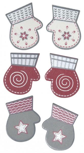 Holzstreuteil Handschuhe rosa/silber/weiss 3,5 cm 56-172-00