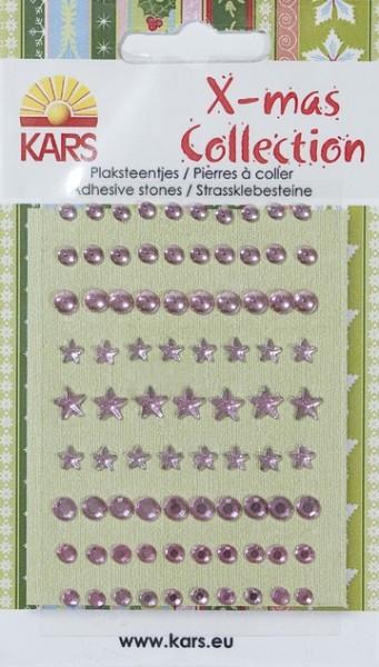 KARS X-mas Collection Klebe-Glitzersteine Sterne u. Kreise ROSA 980003/0056