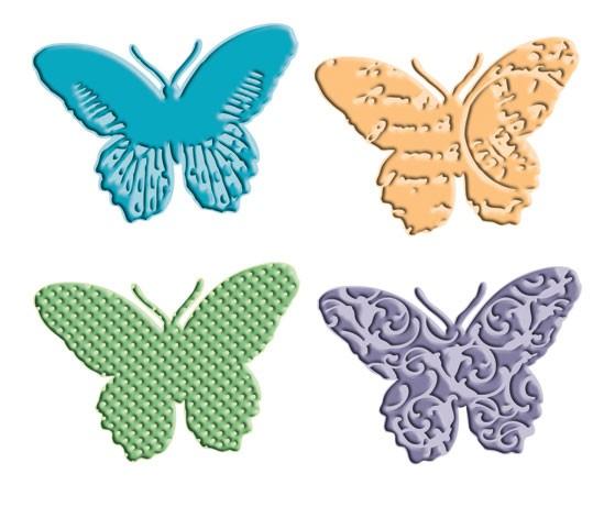 Cuttlebug Combo Stanz-u.Prägeform 5-er Schmetterlinge 37-1651