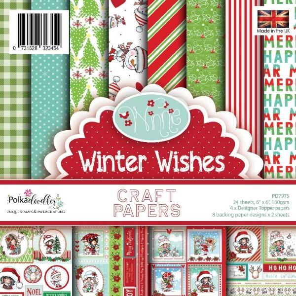 Polkadoodles Paperpad 14,8 cm x 14,8 cm Winnie Winter Wishes PD7975