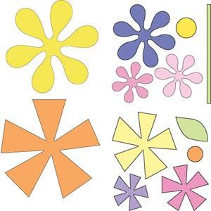 Cuttlebug Stanzform 4-er Set KLEIN Blumen / asterisks 37-1202
