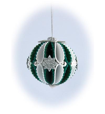 Leane Creatief Stanzformen Weihnachtskugel 3-D / Glitter Foram Decoration Christmas Ball Wave 45.620